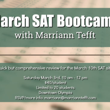 March SAT boot camp announced